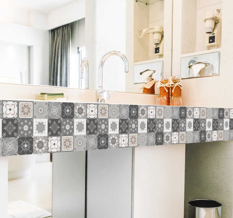 TenStickers. Gray tiles for bathroom  furniture decal. A grey geometric shaped patterned furniture decal to give your bathroom furniture well defined shape with beauty. Easy to apply design.