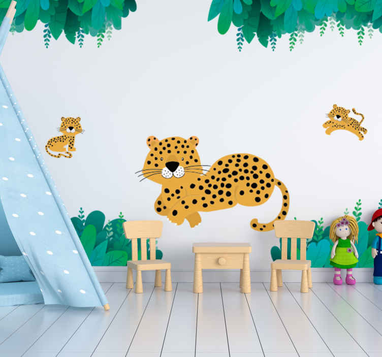 TenStickers. Leopard mom and babies wild animal sticker. Animal wall sticker with leopard and it young one that your child will love on the wall surface in the bedroom. This design is very easy to apply.