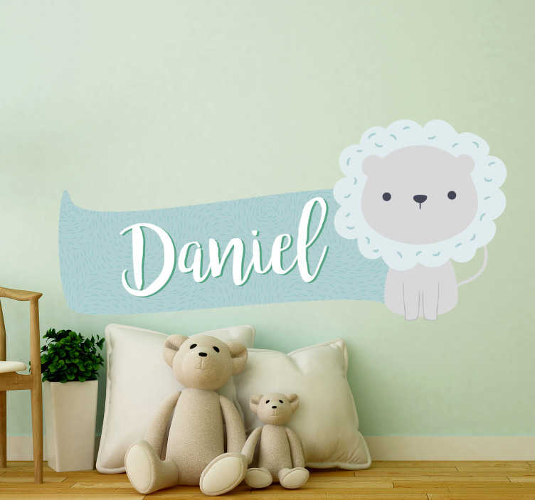 TenStickers. Lion with name wild animal sticker. A customisable name with lion kids bedroom sticker that you can apply in your infant room This design is easy to apply and you can chose the size.