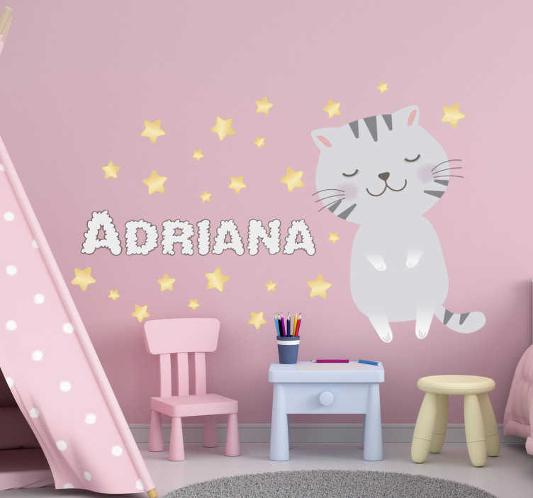 TenStickers. 北欧风格的小猫墙装饰. 一种带有个性化名字的小猫,上面有个孩子的房间的墙贴,可用来在孩子的卧室上用您喜欢的名字装饰。