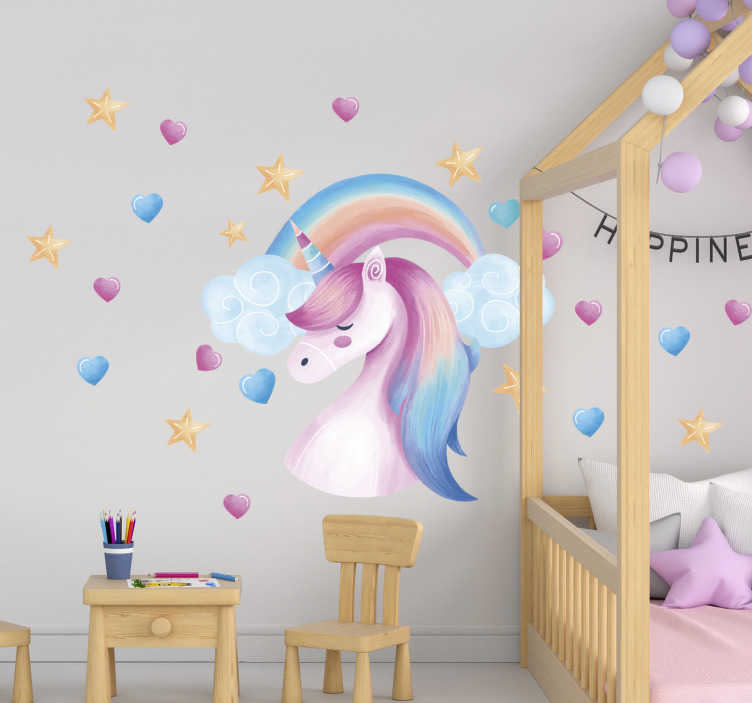 TenStickers. Nordi style unicorn animal wall decor. A beautiful unicorn kid's room wall sticker design that you can use to beautify the surface of your child's bedroom. This design is easy to apply.