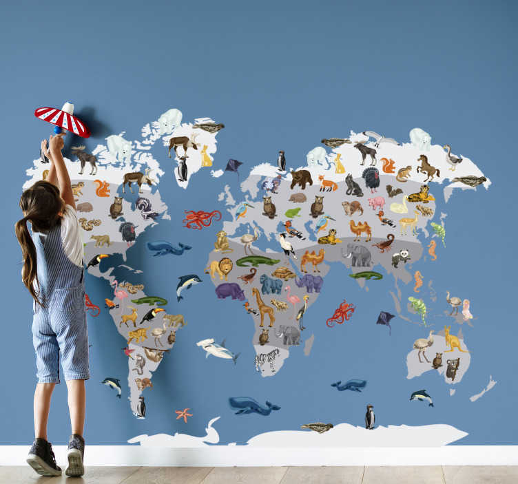 TenStickers. Nordic style world map sticker. Animal location map wall sticker for children bedroom to beautify and create a learning atmosphere for new animal names. This design is easy to apply.