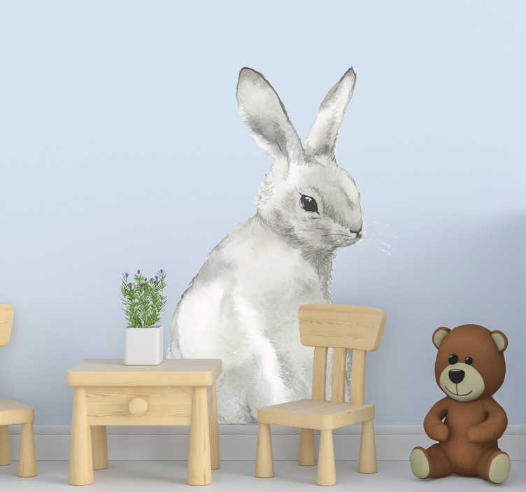 TenStickers. 兔子兔子农场动物贴纸. 农场动物墙贴花,适合儿童卧室或您选择的任何地方。这是您会喜欢的兔子的设计。易于在平面上应用设计。