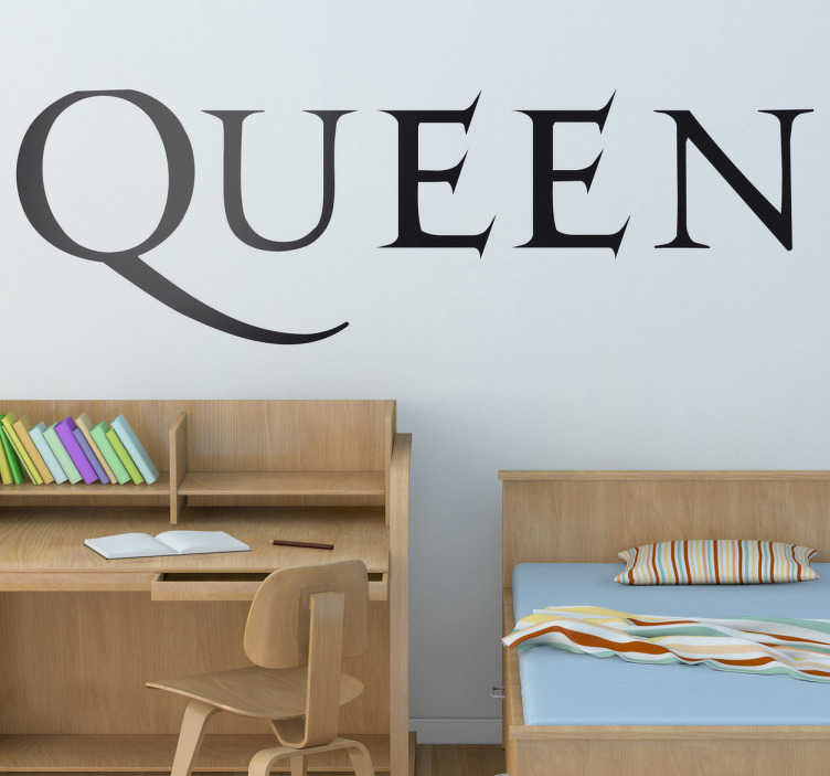 TenStickers. Queen Logo Wall Sticker. Wall Stickers - Logo illustration of British rock band Queen. Ideal for fans and musicians. Sign up for 10% off. High quality.