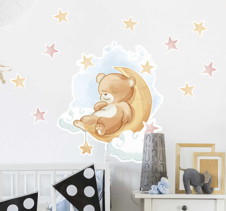 TenStickers. Teddy bear  wild animal sticker. Animal wall sticker for kids bedroom created with teddy bear, stars and moon. This design is easy to apply and you can chose the size you prefer.