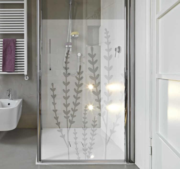 TenStickers. Adesivo per schermo doccia floreale traslucido. Adesivo doccia floreale traslucido creato con una motivi floreali che ti piacerà appendere in superficie. Puoi scegliere la dimensione che desideri.