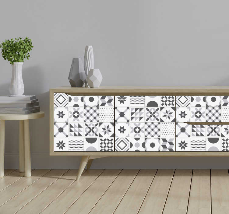 TenStickers. Vintage blue tiles  furniture decal. Vintage geometric tile patterned furniture sticker to change the appearance of your furniture at home with beauty. This design is easy to apply.