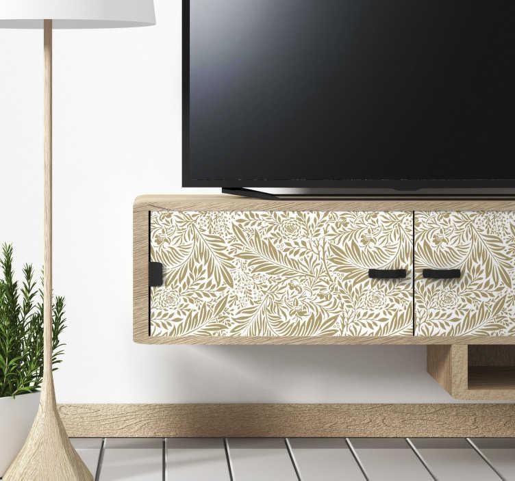 TenStickers. sticker de meubles de motifs floraux vintage. Décorez la surface de vos meubles avec cet autocollant de meubles à fleurs et vous serez heureux de l'avoir fait en raison de la beauté incroyable qu'il créera.