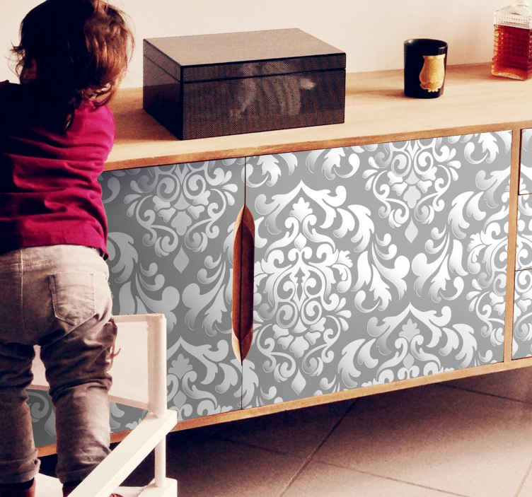 TenStickers. Vintage gray floral pattern  furniture decal. Get rid of boring furniture surfaces with this grey floral patterned furniture sticker that will create a classy look for this space.