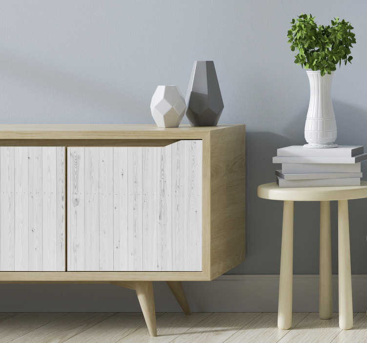 TenStickers. Vintage white wood pattern  furniture decal. Keep your furniture surface simple and classy with this wooden texture furniture sticker. This design is easy to apply and you can choose the size.