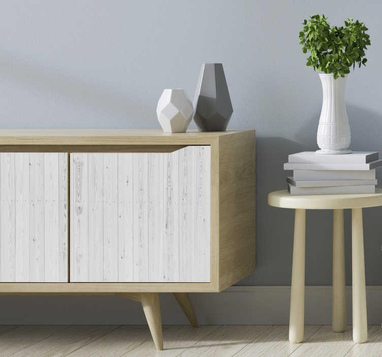 TenStickers. sticker de meubles vintage en bois blanc. Gardez la surface de vos meubles simple et élégante avec cet autocollant de meubles en bois. Cette conception est facile à appliquer et vous pouvez choisir la taille.