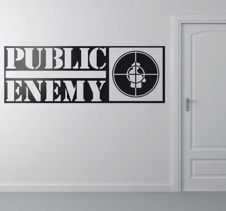 TenVinilo. Vinilo decorativo Public Enemy. Adhesivo de música, del grupo neoyorkino de rap Public Enemy. Si te gusta el hip hop no puede faltar este vinilo distintivo de la banda.