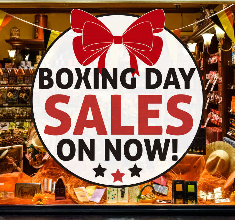 TenStickers. Boxing day window decal. Business festive sales window decal created on a white background with it red pooping text to promote sales. This design is easy to apply.