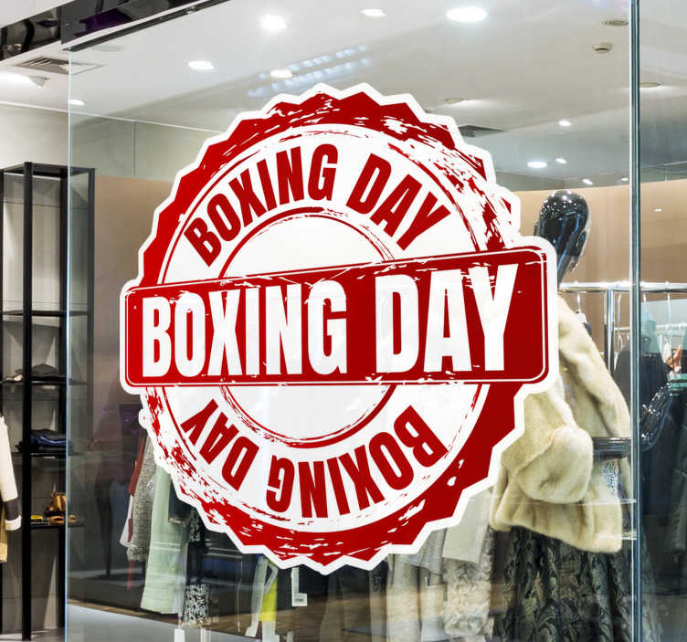 TenStickers. Boxing day stamp window decal. Festive  stamp shop window sticker for promotional sale.This design is created in red colour in a crown style. Easy to apply and you can chose the size