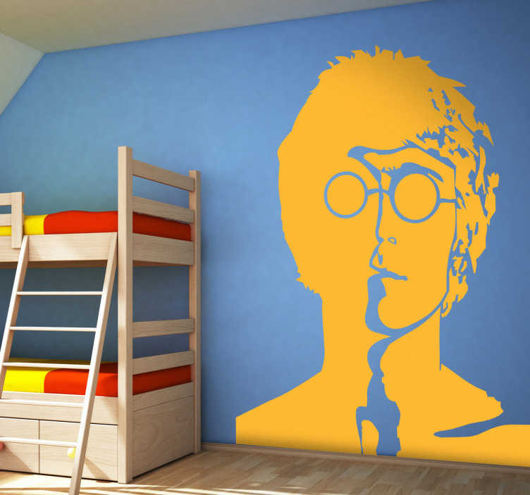 TenVinilo. Vinilo decorativo retrato John Lennon. Adhesivo con la imagen del famoso cantante y compositor de The Beatles: John Lennon.