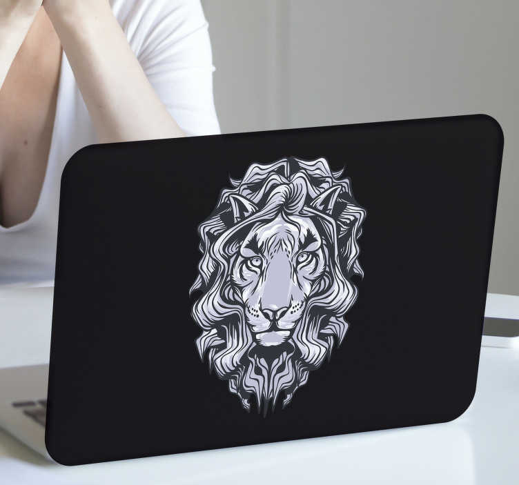 TenStickers. Black lion laptop skin. A black sketched huge lion face laptop skin that you can also use for tablets. All you have to do is choose the size. It is easy to apply on surface