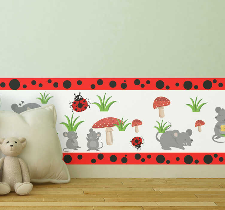 TenStickers. Botanical skirting board sticker. Decorative boarder wall sticker design that your kids can use to learn new animals while it keep their space beautiful. This design is easy to apply.