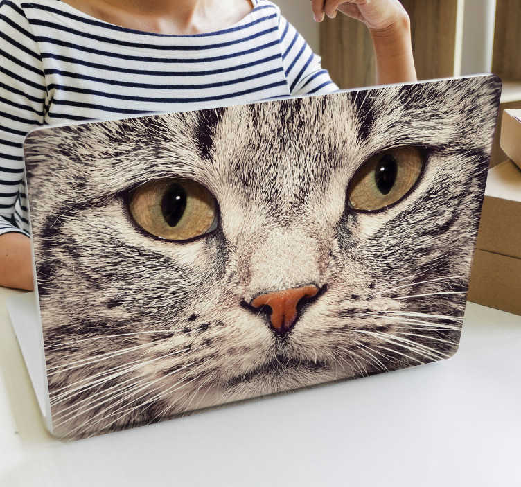 TenStickers. Cat face laptop  laptop skin. A laptop skin decal that is created with a huge cat face in it brownish colour that you will love to apply on your laptop or tablets. Easy to apply.