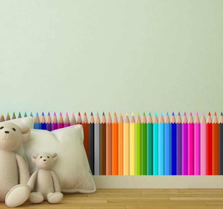 TenStickers. Color Pencil Skirting wall border sticker. Decoration educational vinyl wall decal for children that is created with different multi colour pencils for your child.This design is easy to apply.
