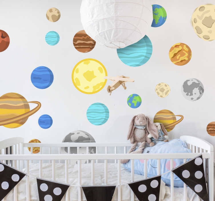 TenStickers. Colour dot planets space sticker. Kids bedroom wall sticker design of space planet in very beautiful and attractive  colour that you will love. The design is easy to apply .