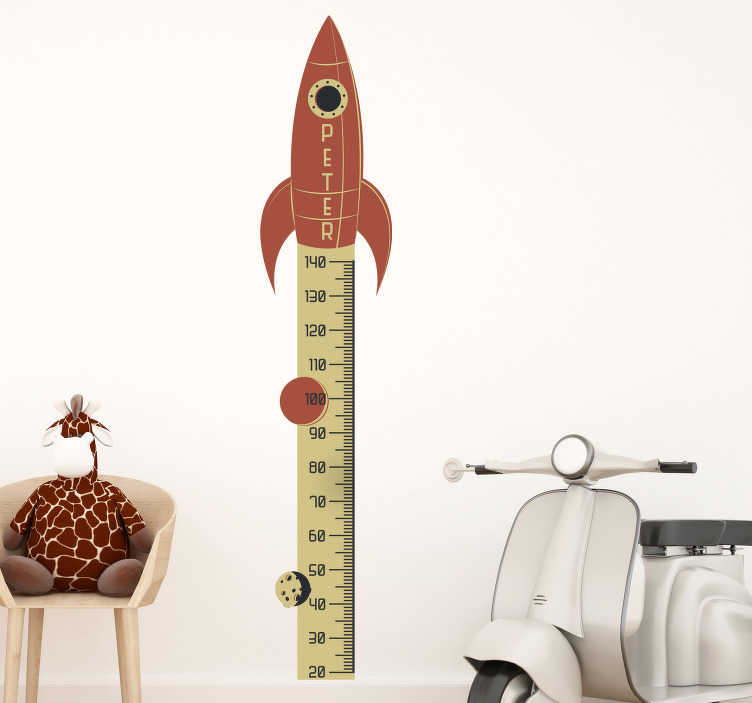 TenStickers. Customisable Rocket Height Chart height chart wall sticker. A personalisable space height chat sticker created with callibration pointing target to the space. You can have any name you want on it.