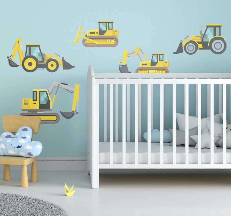 TenStickers. Digger Pack toy decal. Kids toy wall sticker of digger sets in yellow colour to beautify your kids's room . This design will create a special atmosphere in the room.