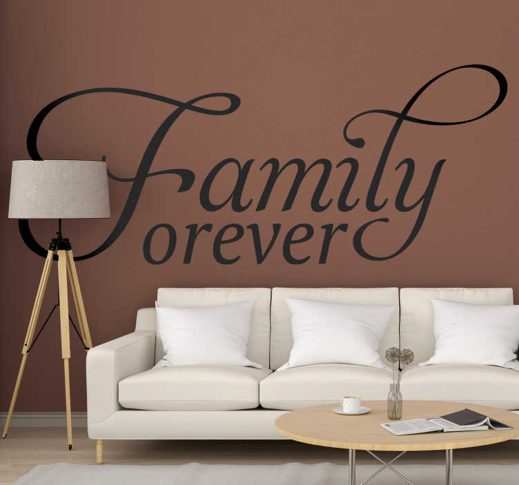 TenStickers. Family forever home text wall decor. Family home text wall decal created with very nice and artistical styled font that you will love on your surface at home This design is easy to apply.