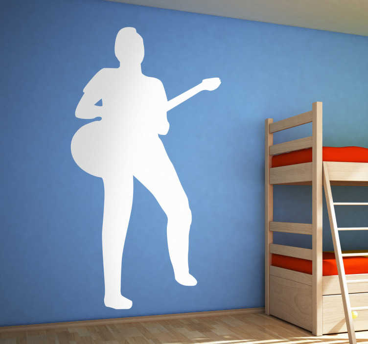 TenStickers. Muursticker silhouet gitarist. Deze muursticker omtrent een ontwerp van een gitarist in silhouet. Ideaal voor ieder die gitaar speelt.