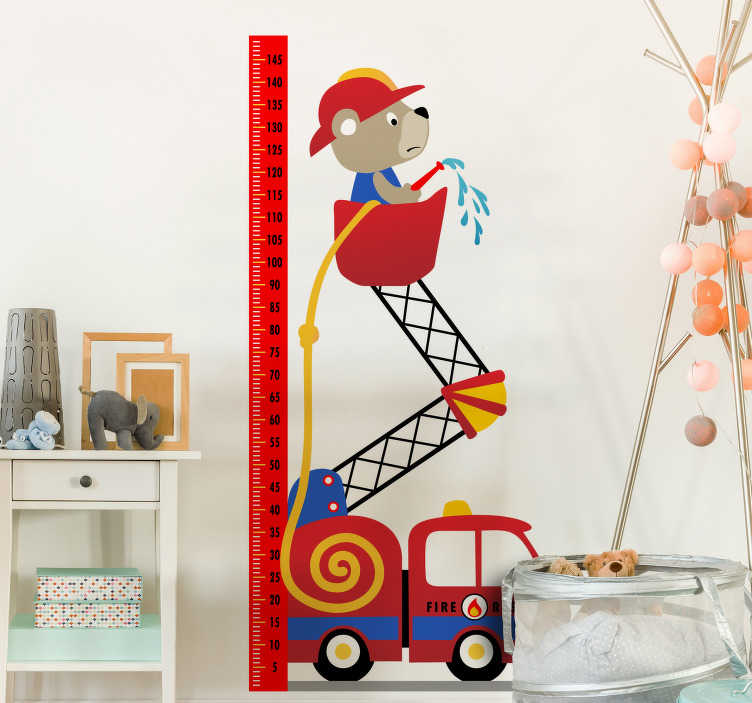 TenStickers. Fire engine height chart height chart wall sticker. A height chat for fire emgine created wih a baby right above a truck with the chat  for measurement. This design is easy to apply .