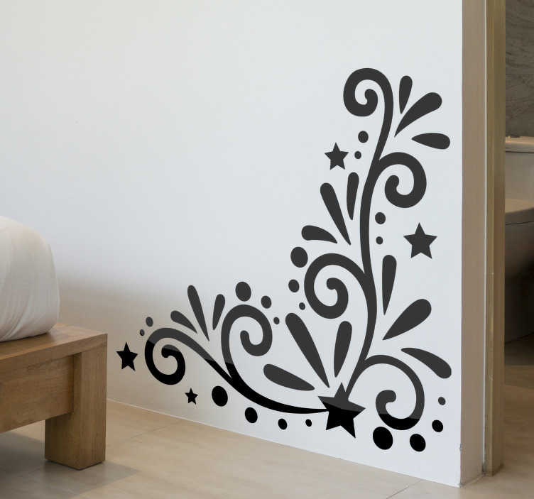 TenStickers. Floral elegant corner floral wall decal. Flower wall decal design of a beautiful ornamental flower in black colour that will be amazing to decorate your home. This design is easy to apply.