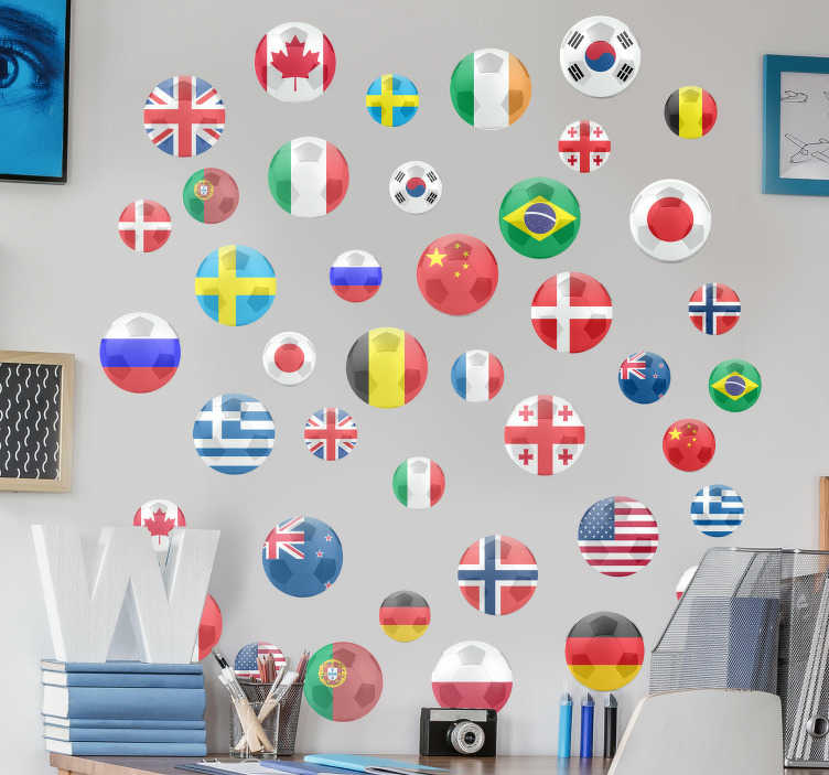 TenStickers. Football dots football sticker. Football  wall art decal that is created with dots design of country flag that  will beautify your  home. You can apply it in he iving room or bedroom.