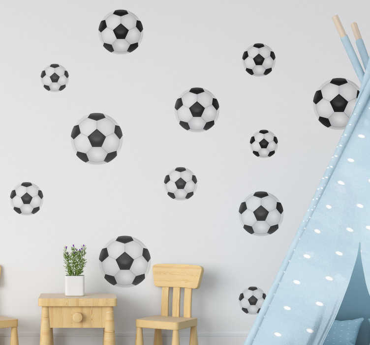 TenStickers. Football Set different sizes football wall sticker. Football wall sticker created in different  sizes that you can apply on the wall of your kids room to beautify the surface and make them happy.