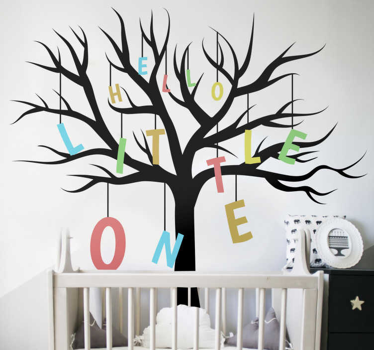 TenStickers. Hello little one baby wall sticker. Tree plant wall sticker for children's room that you will love. This design contains a tree and baby welcome text. You can choose the size you prefer.