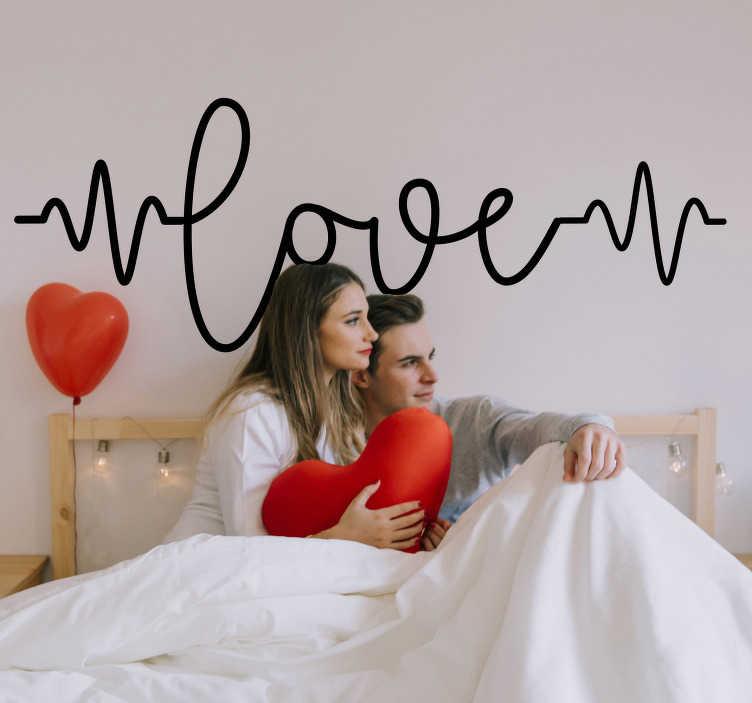 TENSTICKERS. 愛のハートビート愛の壁のステッカー. あなたの心臓がどのように流れるかを記述する波速度のテキストで作成された愛のビートウォールステッカーこの設計は簡単に適用できます。