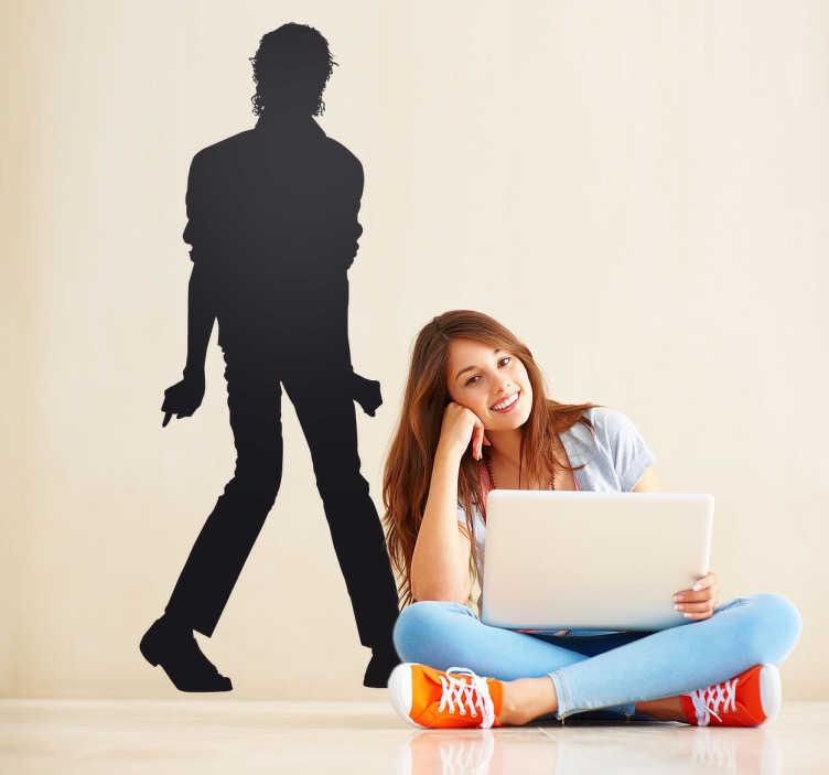 TenVinilo. Vinilo decorativo silueta Michael Jackson. Adhesivo de música, con el perfil del famoso cantante Michael Jackson. El rey del pop, haciendo uno de sus múltiples y conocidos pasos de baile.