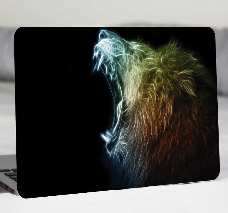 TenStickers. Modern Lion laptop skin. A laptop skin decal design created with a roaring lion. This design is very colourful and you will love it on your laptop and tablets. Easy to apply.
