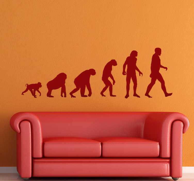 TenStickers. Sticker decorativo evoluzione uomo. Dagli ominidi all'Homo Sapiens. Un adesivo murale che raffigura le silhouette dell'evoluzione umana. Una decorazione originale per la camera da letto.