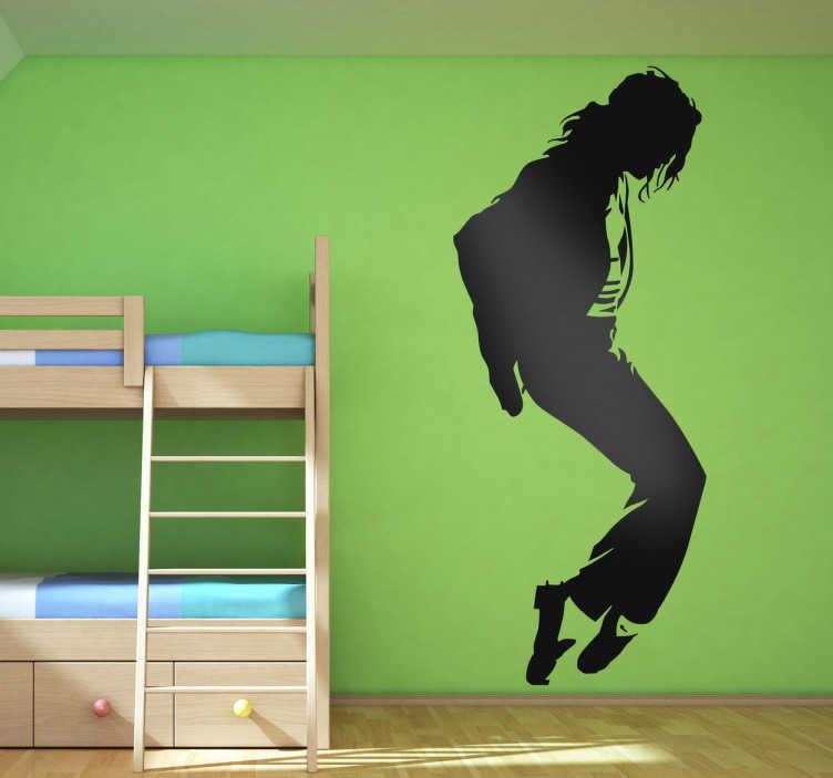 TenStickers. Sticker Michael Jackson moonwalk. Een leuke muursticker met de silhouette van de bekende zanger, danser en componist: Michael Jackson. Leer de moves van MJ zoals de bekende moonwalk met behulp van deze leuke muurdecoratie. Bepaal zelf de gewenste grootte en kleur voor deze wanddecoratie.