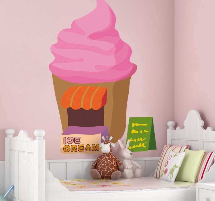 TenStickers. Sticker Kinderen stand met ijsjes. Een mooie decoratiesticker met hierop een stand die ijsjes verkoopt, prachtig voor in de speelkamer.