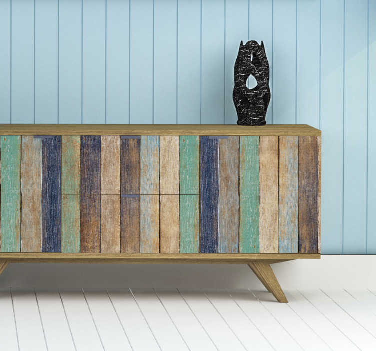 TenStickers. Blue Summer Wood furniture decal. A textured pattern furniture decal in beautiful colour design that you can decorate the surface of your furniture with and be happy with it look.