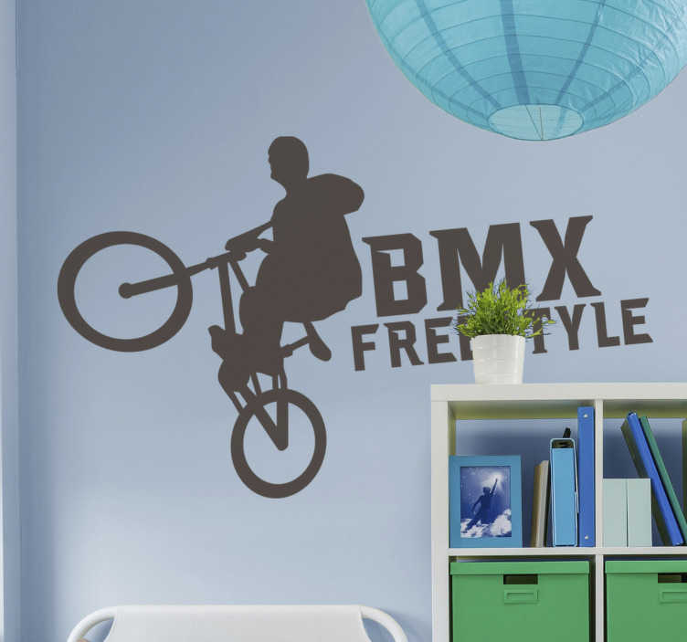 TenStickers. BMX Freestyle cycling wall sticker. Sport cycling sticker design in silhouette that you can have in any other colour and size you prefer. This design will be nice to decorate you wall.