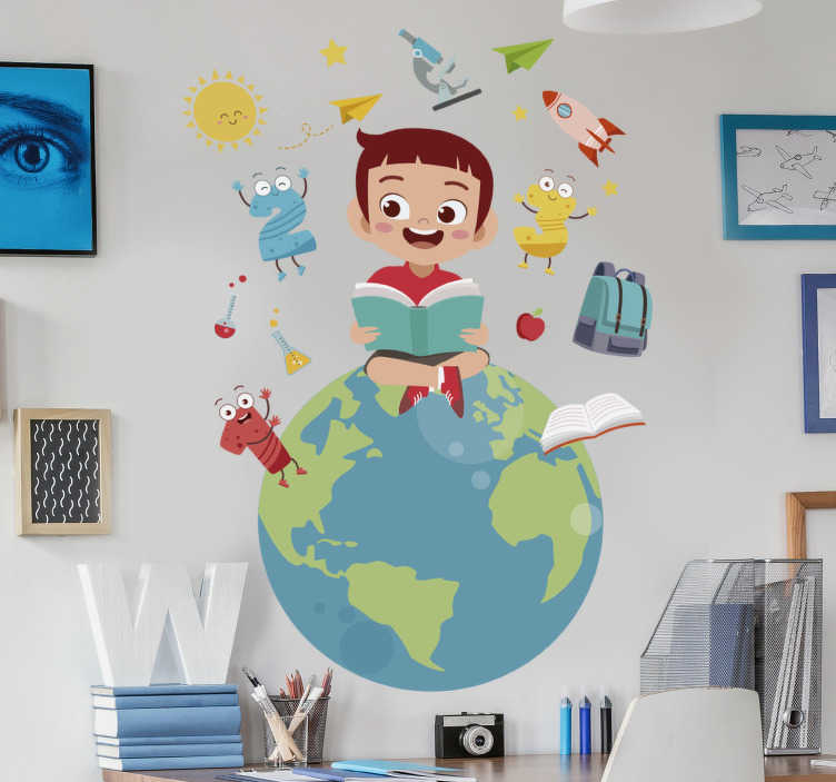 TenStickers. Flying Through The World educational wall sticker. An illustration educational wall decal for kids bedroom.This design is created with the world and a kid sitting on it and many more features to learn.
