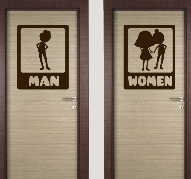 TenStickers. Funny WC glass door sticker. Funny wc toilet door sticker design of an animated image of a man and a woman. This design can be used in the public and also at home. Easy to apply.