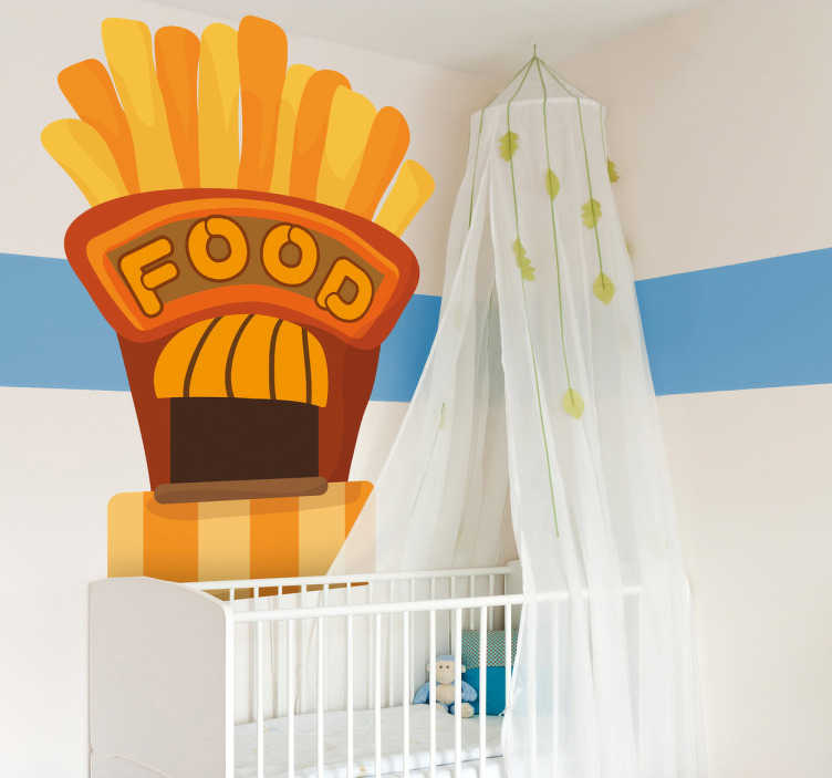 TenStickers. Naklejka restauracja fast food. Naklejka przedstawiąca bar-restaurację w formie apetycznych frytek. Dla wszystkich zwolenników fast food-ów.