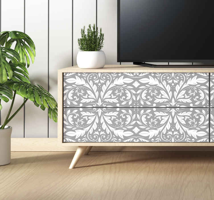 TenStickers. sticker de meubles ornement gris. Une conception d'autocollant de meubles texturés de fleurs ornementales créée avec une fleur de styles classiques qui embellira votre surface de meubles avec style.