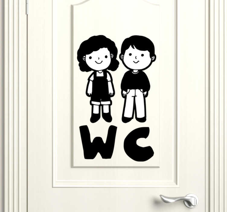 TenStickers. Kids WC glass door sticker. A  toilet door sticker for kids that is design with the animated image of a little boy and a girl. This design can be used at home or public services.