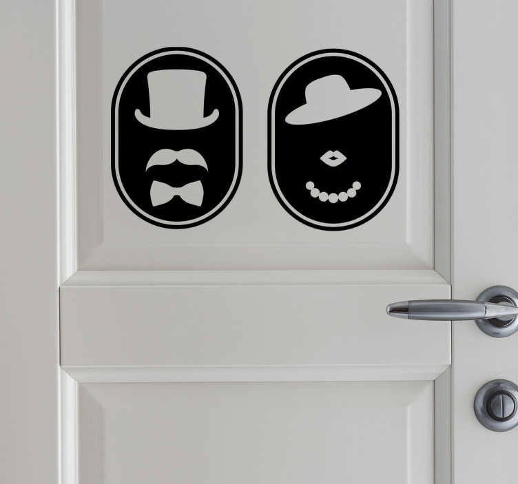 TenStickers. Retro WC glass door sticker. A sticker door poster for toilets and bathroom that you can apply on your bathroom door at home or in any public business place  with toilet service.