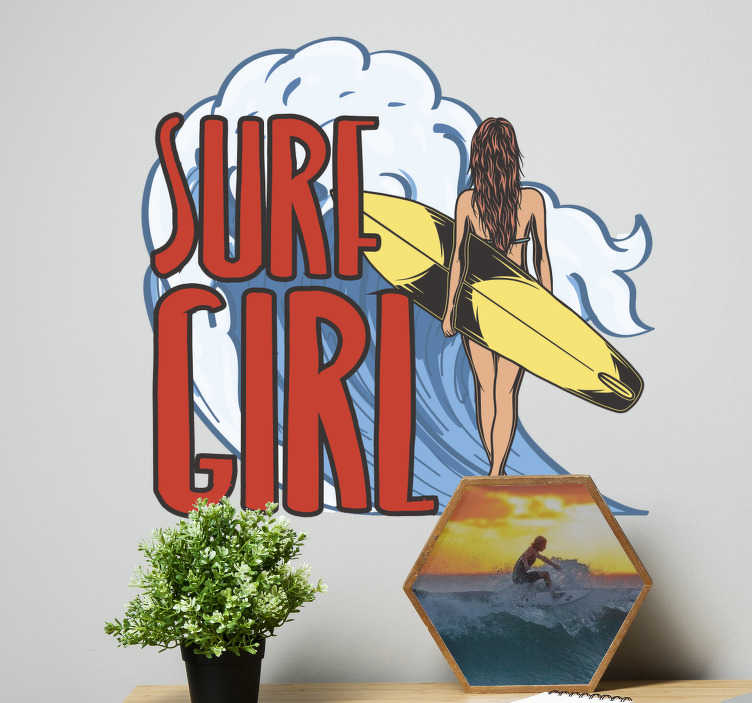 TenStickers. Surfist girl surf decal. A girl surfer wall sticker with a girl and her surfing board and the text that say '' surfing girl. This design will be nice to have in the home.