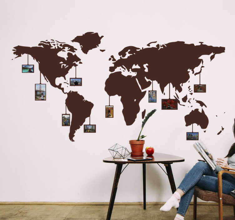TenStickers. World in photos world map sticker. Decorative world map decal with photo space for your family. This design is very beautiful and will be nice on the wall with your family photos on it.