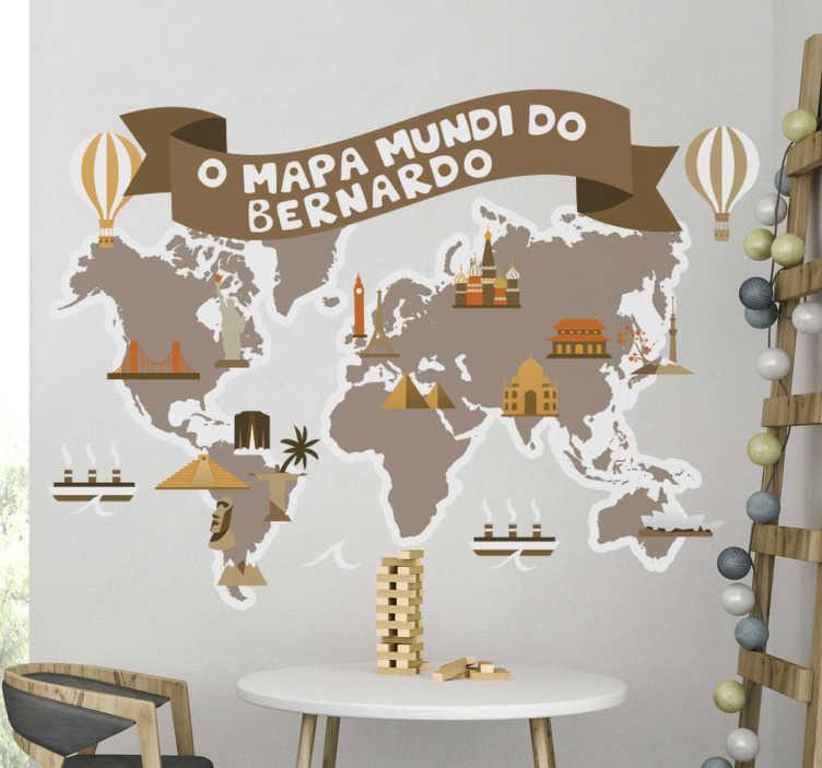 TenStickers. Autocolante mapa mundo para pequenos exploradores . Magnífico autocolante decorativo mapa mundo para crianças em estilo vintage e com nome personalizável é perfeito para decorar o quarto dos mais pequenos.